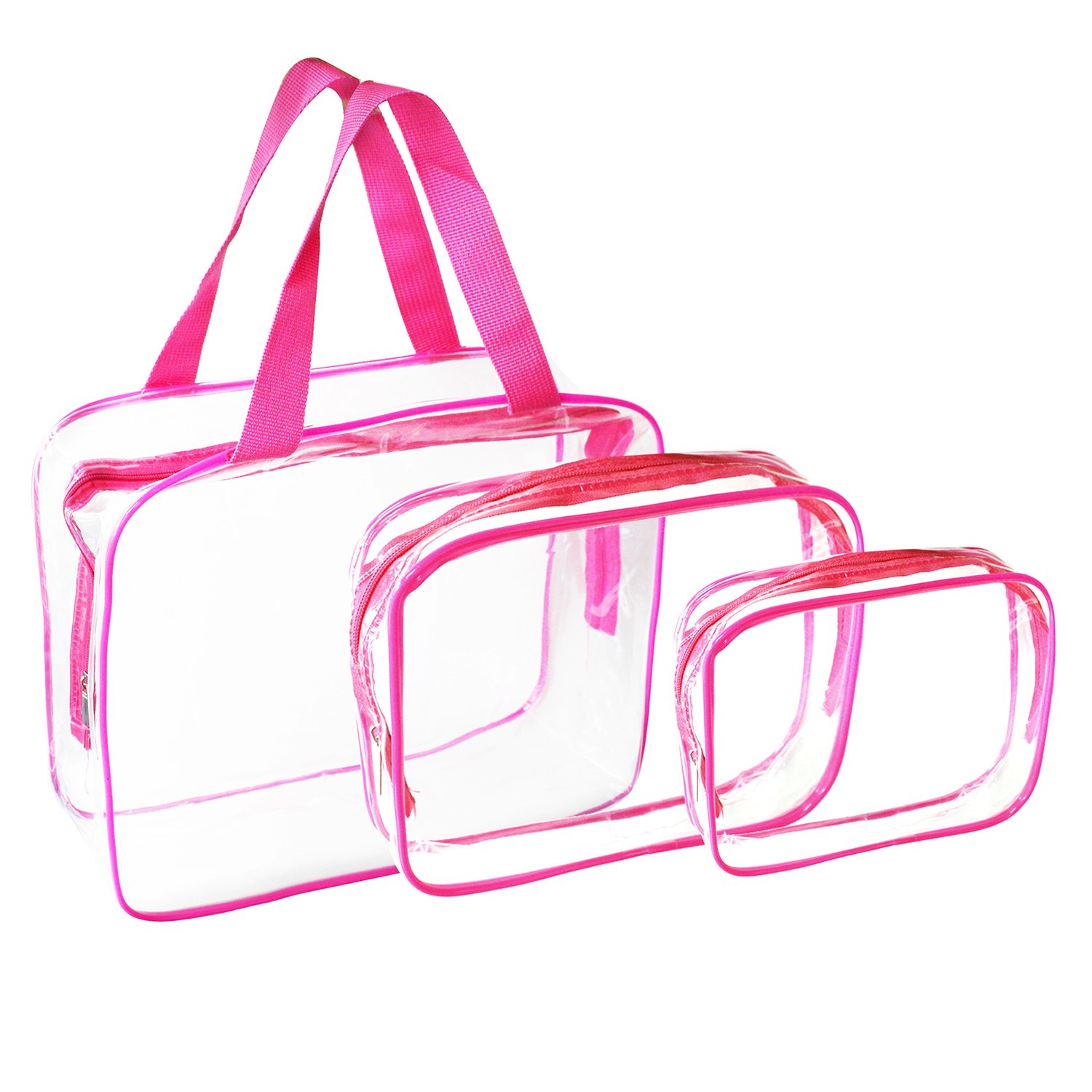 3 Pack Clear Makeup Bag, Waterproof PVC Transparent Travel Cosmetic Bag Portable Hand Pouch Toiletry Organizer Set with Zipper for Women Men Pink