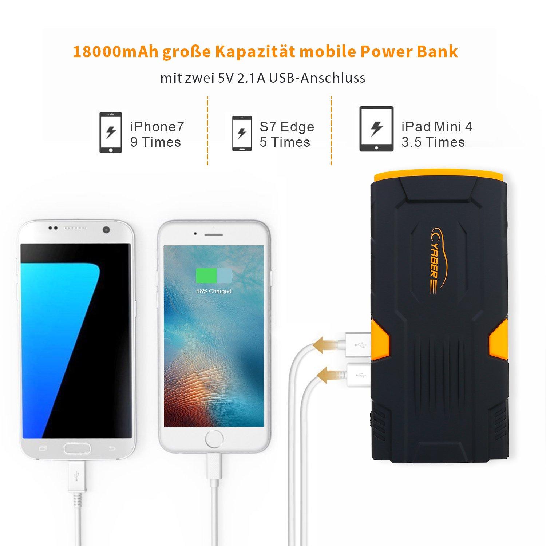 Tablet Starthilfe Powerbank 800A 18000mAh Auto Starthilfe Power Pack Jump Starter Autobatterie Anlasser mit LCD Display und LED Taschenlampe f/ür Smartphone