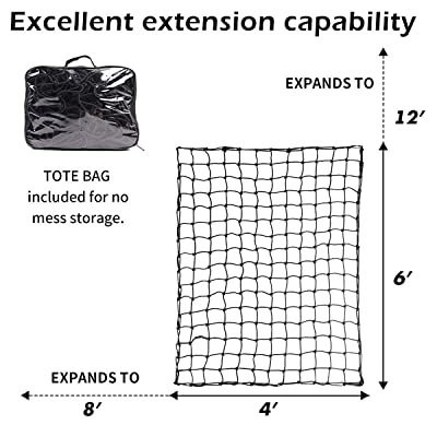 """JCHL Bungee Cargo Net 4'x6' Heavy Duty Truck Bed Bungee Nets Stretches to 8'x12' Truck Bed Net Includes 12 pcs Durable Carabiners Hooks Heavy Duty 5mm 4""""x4"""" Small Mesh fit Universal Truck Bed: Automotive"""