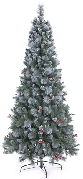 Festive Frosted Virginia Pine Artificial Christmas Tree with ...