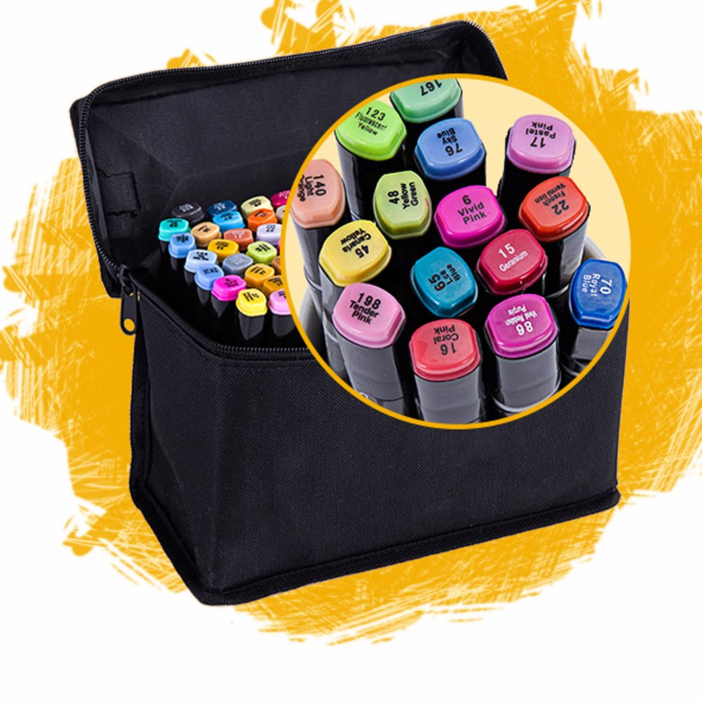 Sayeec 36 Colors Permanent Marker Dual Tips Art Sketch Marker Pens for Painting Coloring Highlighting and Underlining(Gift pen bag)