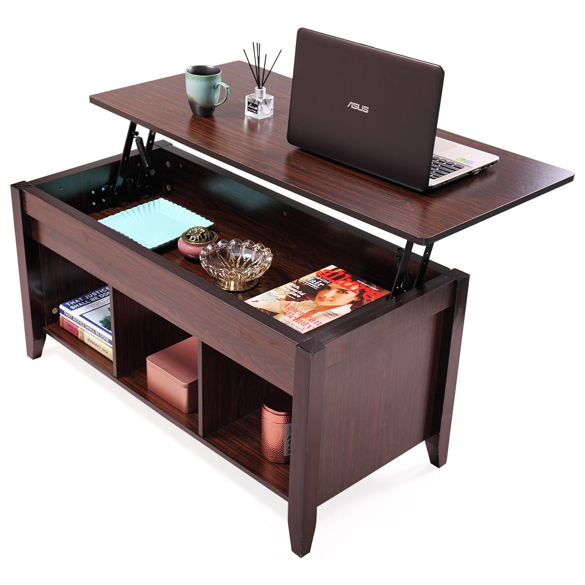 JAXPETY Lift Top Coffee Table w/Hidden Compartment and Storage Shelves Modern Furniture
