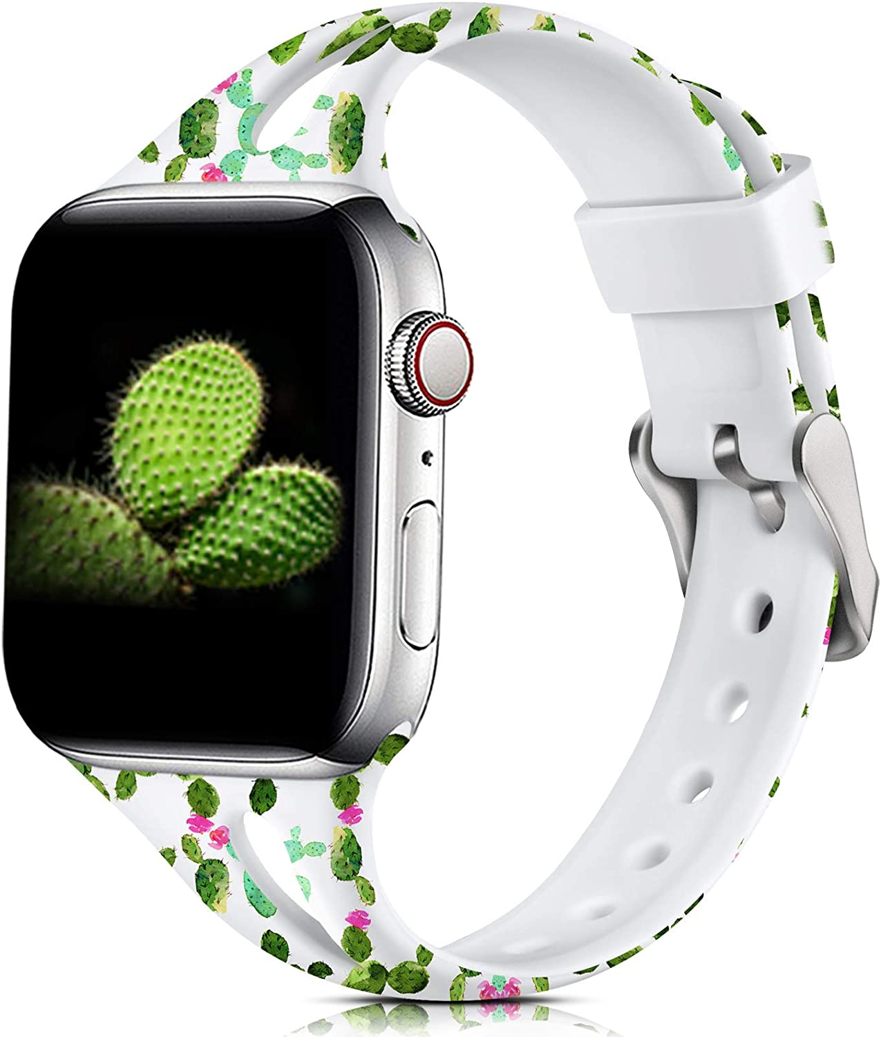 Easuny Floral Bands Compatible for Apple Watch 40mm Series 6 Series 5 4 for Women, Soft Slim Band for Apple Watch SE ,iWatch 38mm Series 3 2/1, Printed Silicone Fadeless Wristband S/M, Cactus