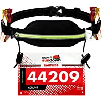 WEIJI Running Pouch Number Belt Race Bib Holder for Running,Cycling,Marathon,Triathlon with Elastic Adjustable 6 Energy Gel Loops