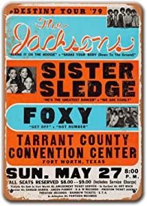 DKISEE The Jacksons Poster, Vintage Metal Wall Art 1979 The Jacksons in Fort Worth Tin Sign for Coffee Man Cave Home Bar Decor 8