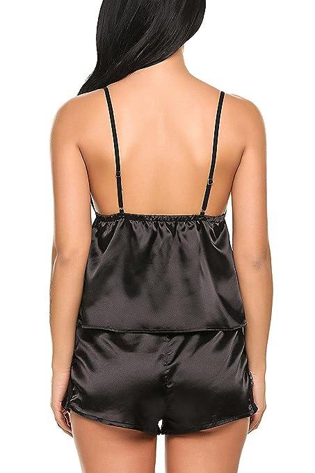 ce08d9a4ee ADOMER 2 Pcs Pyjama Femme et Short Satin Lingerie Femme Déshabillé Noir S:  Amazon.fr: Vêtements et accessoires
