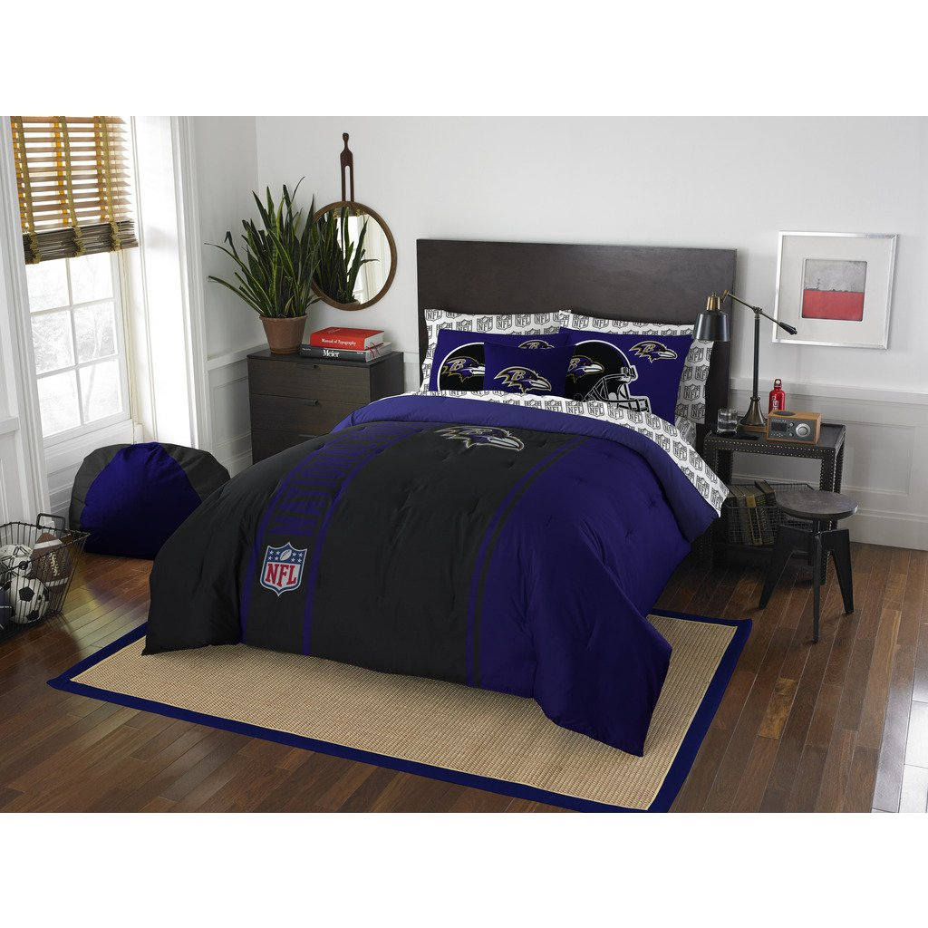 Baltimore Ravens Bed in a Bag Set Bedding Shams NFL 7 Piece Full Size 1 Comforter 2 Shams 1 Flat Sheet 1 Fitted Sheet and 2 Pillowcases Football Linen Bedroom Decor Imported