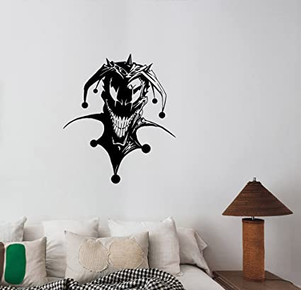 Evil Jester Vinyl Wall Decal Scary Clown Sticker Circus Halloween ...