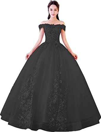 7cdaf6b792a Okaybrial Women s Sweet 16 Quinceanera Dresses Black Off Shoulder Lace Long  Prom Ball Gowns Size 2