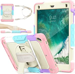 SEYMAC Stock Case for iPad 6th/5th Generation, [Full-Body] Drop Proof &Shockproof Case with 360 Rotating Stand [Pencil Holder] Hand Strap for iPad 5th/6th/ Air 2/ Pro 9.7 (Yellowish+Rose)