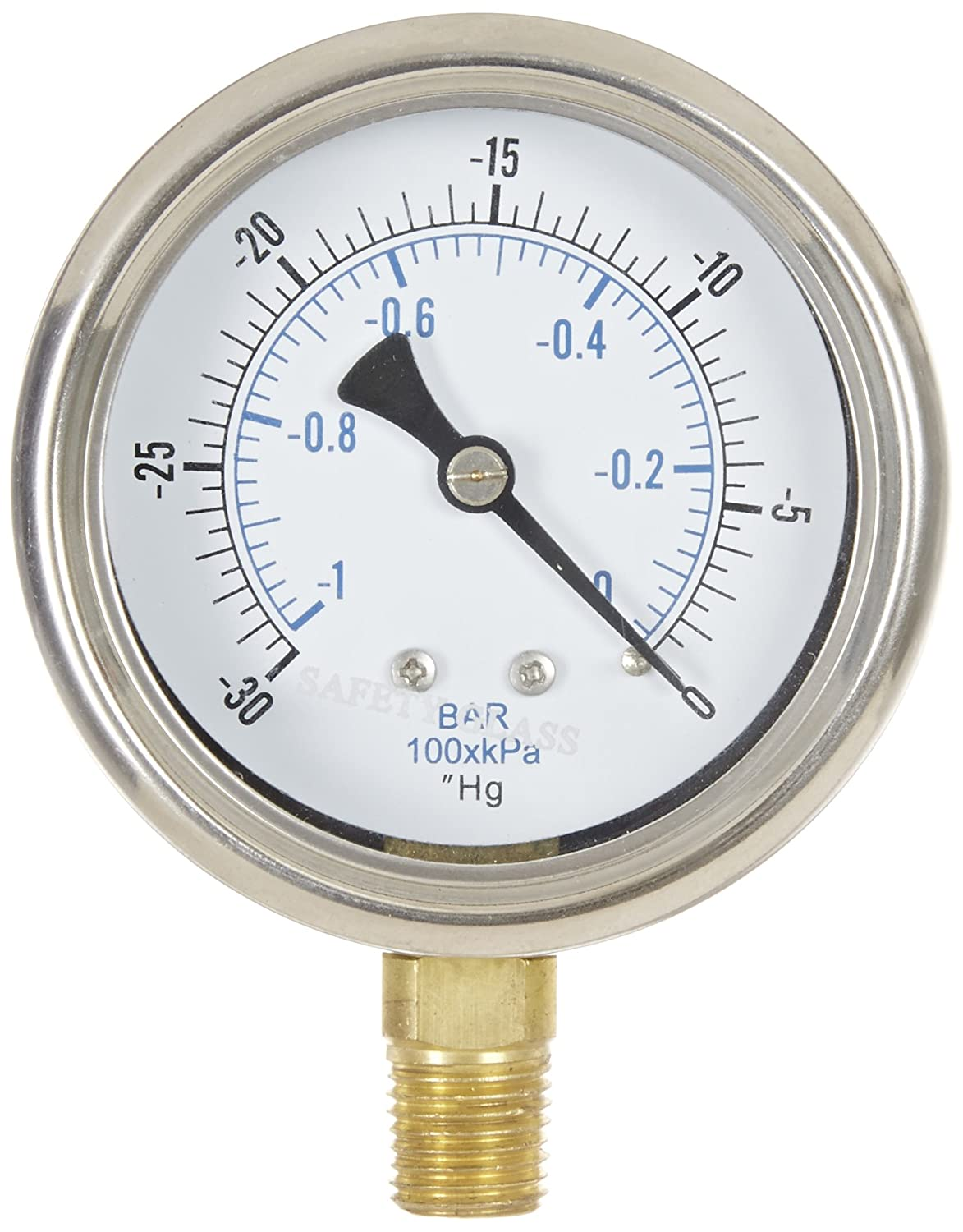 "PIC Gauge 211D-254A 2.5"" Dial, 30""/0 hg Vacuum psi Range, 1/4"" Male NPT Connection Size, Bottom Mount Dry Pressure Gauge with a Stainless Steel Case, Brass Internals, Removable Stainless Steel Bezel, and Glass Lens"