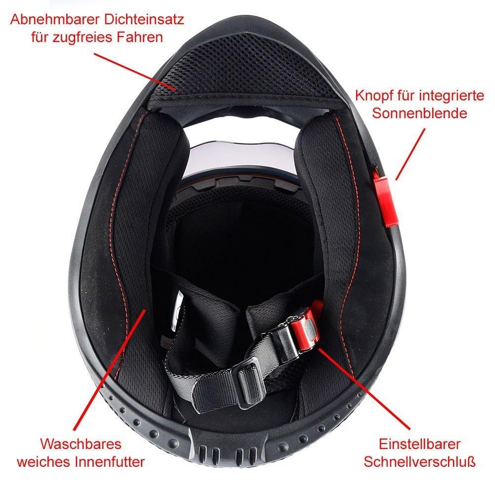 Mach1 Integralhelm Helm Motorradhelm wei/ß mit Integrierter Sonnenblende ECE R 22.05 Gr/ö/ße XS bis XXL