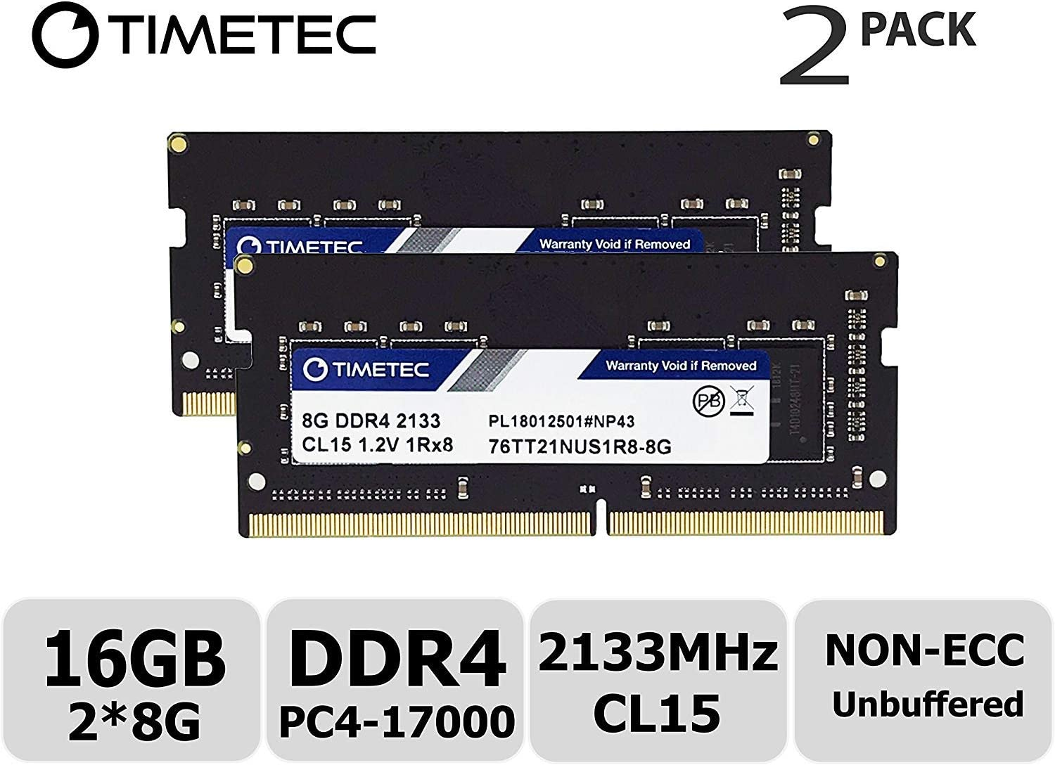 Timetec Hynix IC 16GB KIT(2x8GB) DDR4 2133MHz PC4-17000 Unbuffered Non-ECC 1.2V CL15 1Rx8 Single Rank 260 Pin SODIMM Laptop Notebook Computer Memory RAM Module Upgrade (16GB KIT(2x8GB))