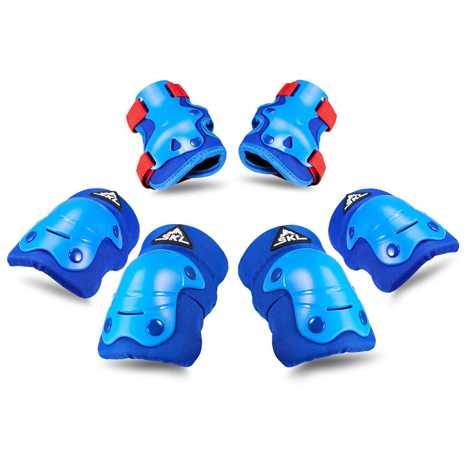 SKL Kids Knee Pads Elbow Pads Wrist Guards 3 in 1 Protective Gear Set for Multi Sports Outdoor Activities Mens Cycling Helmet - Blue by S.K.L