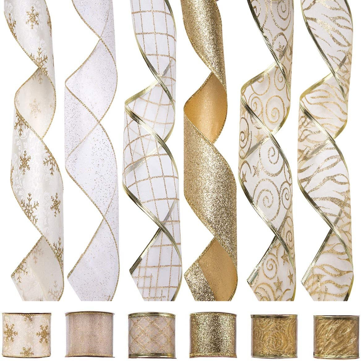 Amazon Com Arcci Christmas Wired Edge Ribbon Holiday Party Assorted Organza Swirl Sealing Sheer Glitter Gift Wrapping 36 Yards 6 Rolls X 6yd 2 5 Inch Gold White Arts Crafts Sewing