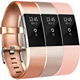 For Fitbit Charge 2 Bands (3 PACK), Vancle Replacement Wristbands Soft Comfortable Accessory Strap for Fitbit Charge 2 Band / Fitbit Charge 2 Small Large, No Tracker (3PC(Rose Gold+Champagne+Blush Pink), Large)