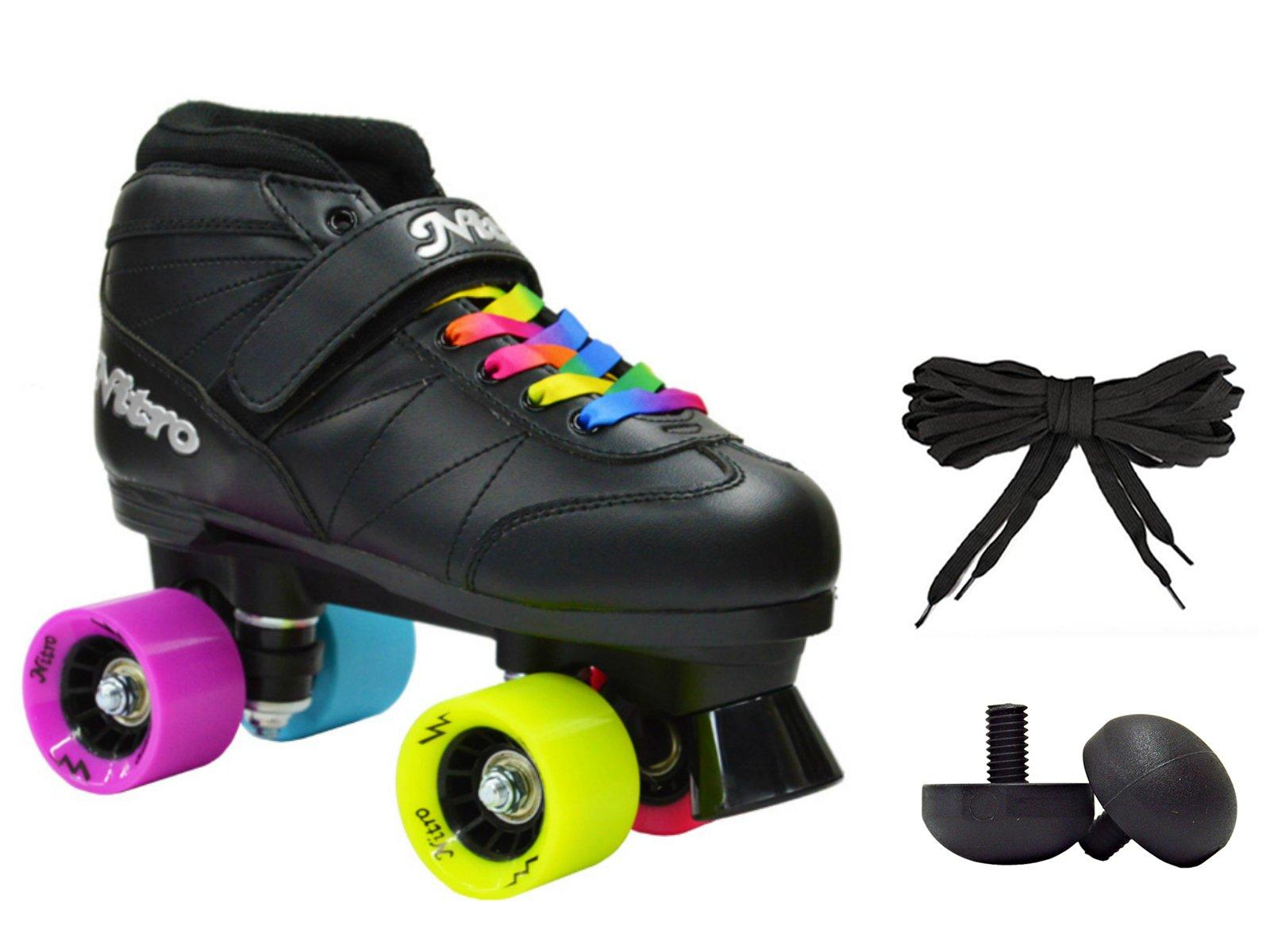 New! Epic Super Nitro Rainbow Indoor Quad Roller Speed Skates w/2 Pair of Laces (Rainbow & Black) Bonus Jam Plugs & Toe Stops! (Youth 3)