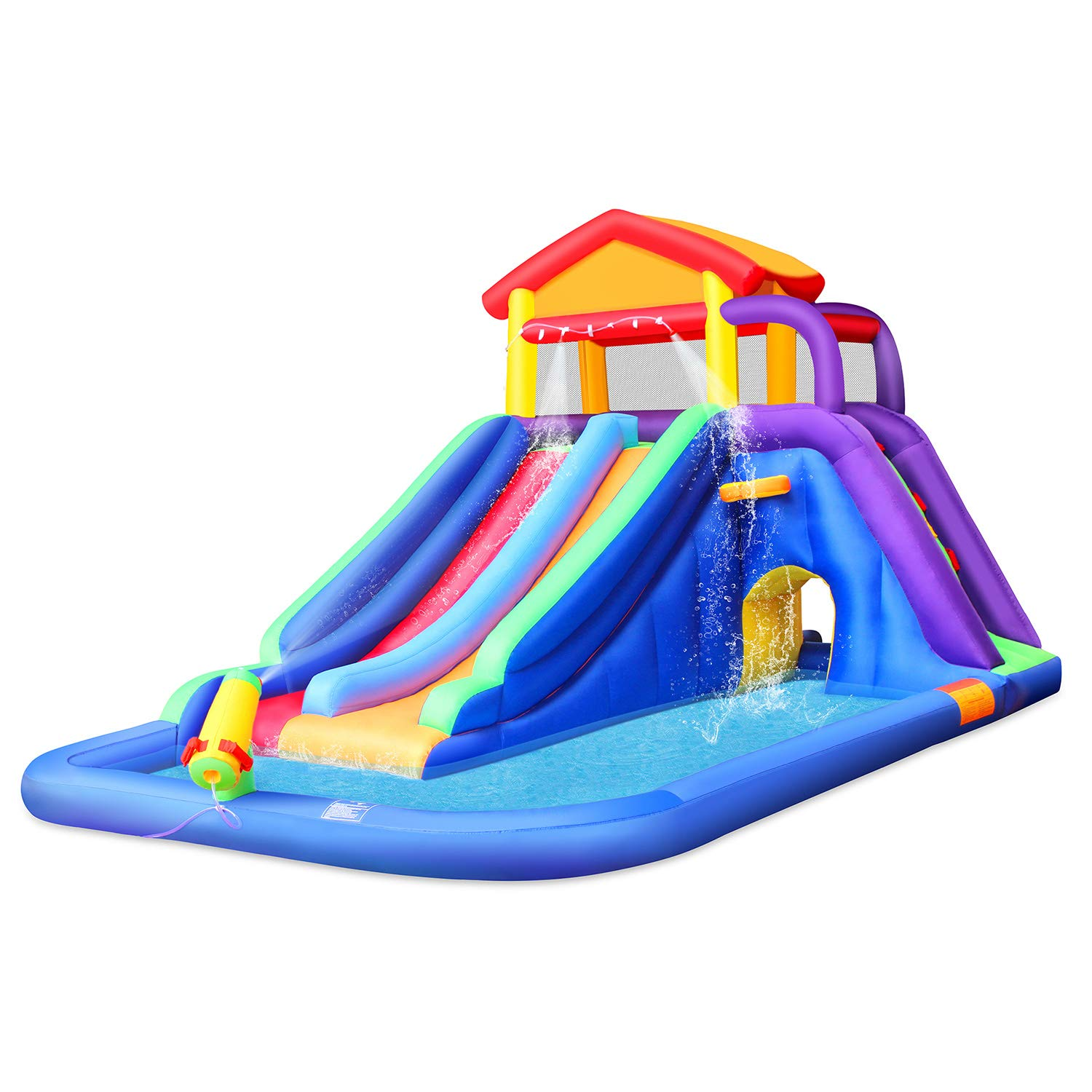 BestParty Inflatable Kids Water Slide, Pool Water Slide for Toddler, Bouncy Splash Park for Outdoor Fun, with Blower by BestParty