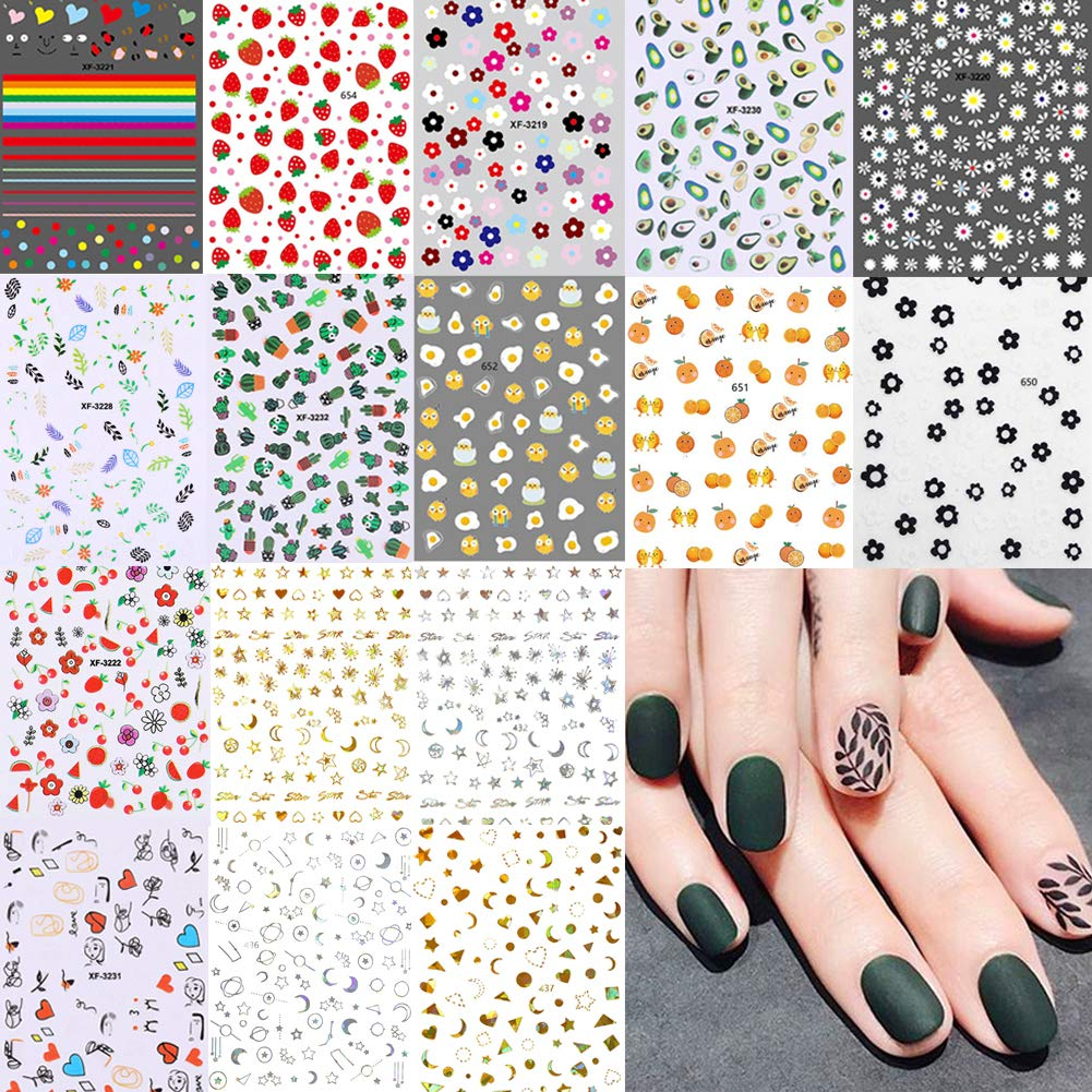 16 Sheets Mixed Nail Stickers Nail Art Sticker Self-Adhesive Flowers Stickers Strawberry