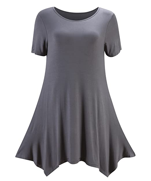 4a17189c489 Kevansly Womens Short Sleeves Draped Tunic Tops