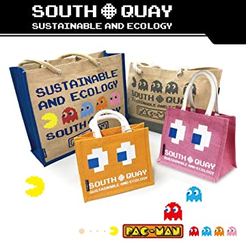 Amazon | PAC-MAN パックマン ジュート エコバッグ (舟形) 大容量 W40×H32×D15cm (グレー) | South-Quay(サウスキー) | エコバッグ・買い物バッグ