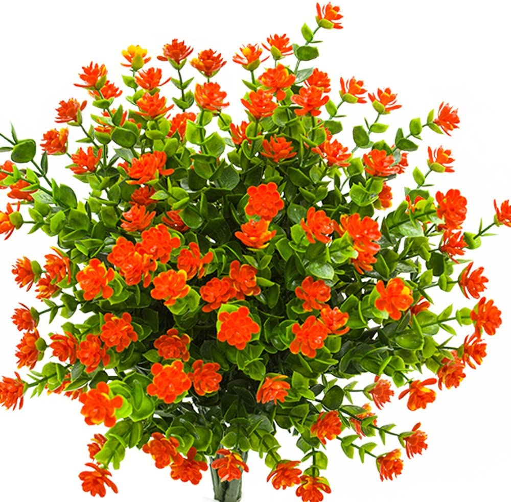 Artificial Flowers, Fake Outdoor UV Resistant Plants Faux Plastic Greenery Shrubs Indoor Outside Hanging Planter Home Kitchen Office Wedding, Garden Decor (Orange Red)