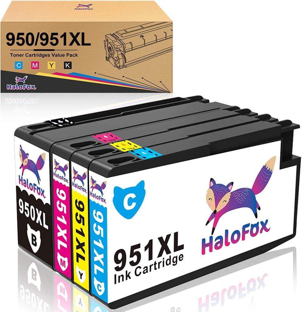 HaloFox 950XL 951XL Tinta Cartuchos de Compatibles con HP Officejet Pro 8610 8620 8600 Plus 8630 8615 Impresora todo en uno 8100 ePrinter 251dw 271dw 276dw Negro Magenta Cian Amarillo 4 paquete: Amazon.es: Oficina y papelería