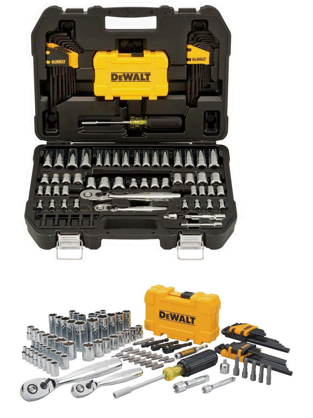 Professional Mechanic Tool Set Chrome with Case (108-Pc). Complete Mechanics Tools Kit w/Box Organizer & Storage has Variety of Automotive Equipment & Accesories for Car Repair. Gift for Men & Women