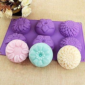Molde de silicona con forma de flor, unidades 6 Cavidad jabón de flor de silicona