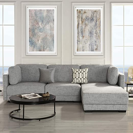 Modular Sectional Sofa Couch Convertible Sofa Sectional With Reversible Chaise Ottoman 3 Piece Custom Couch Feature Modern L Shaped Sectional Sofa