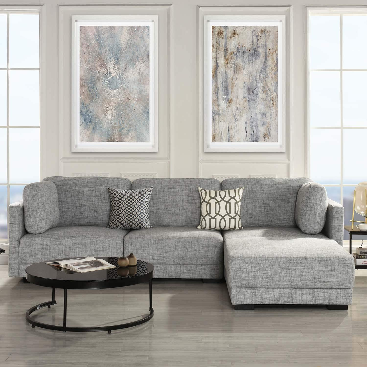 Modular Sectional Sofa Couch Convertible Sofa Sectional with Reversible Chaise Ottoman 3 Piece (Custom Couch Feature) Modern L-Shaped Sectional Sofa from 2Pc Loveseat to Chaise Ottoman Sofa, Grey by Casa AndreaMilano