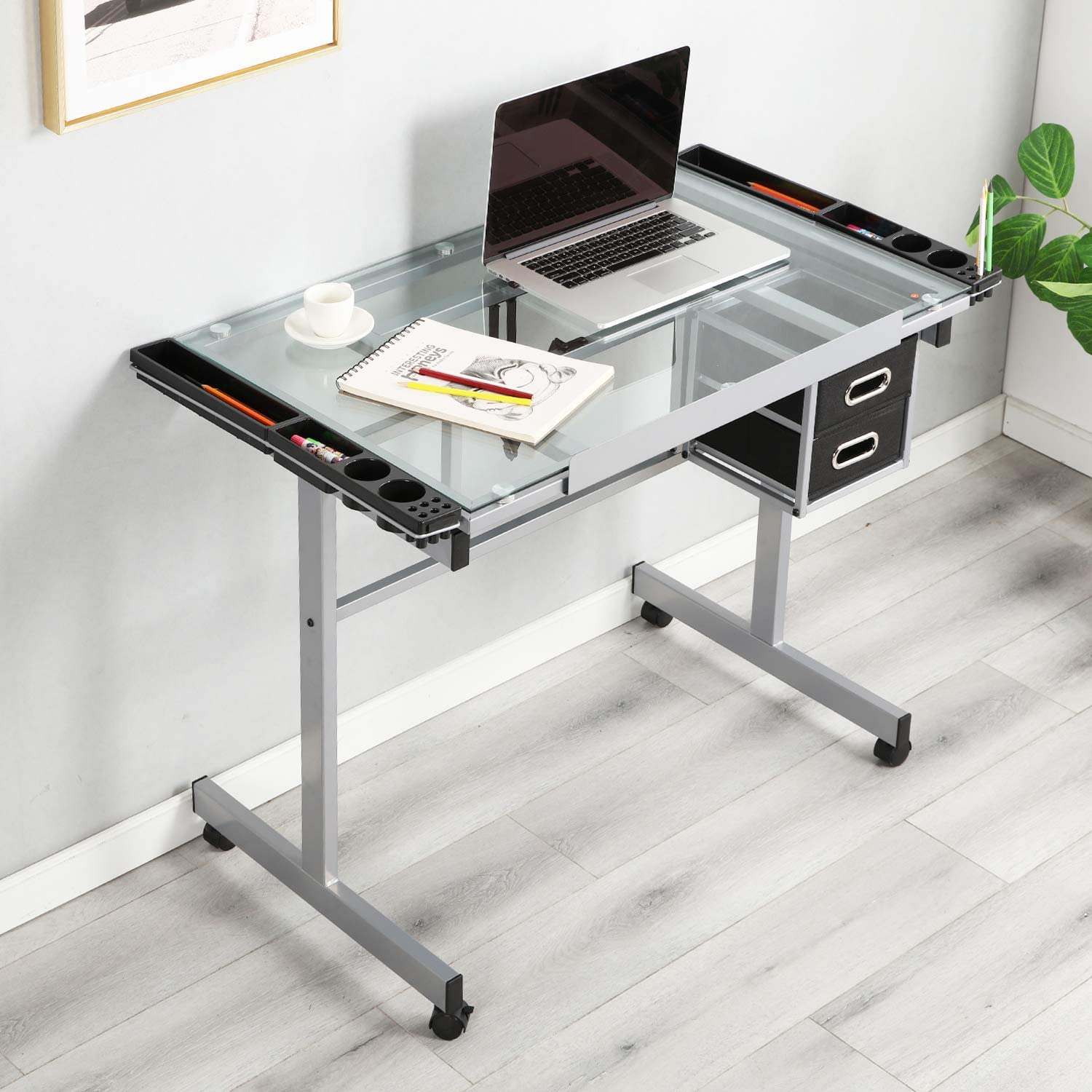 DCA-UTDT1033 DlandHome Glass Drafting Table Adjustable Drawing Table Craft Station Center With 2 Storage Drawers