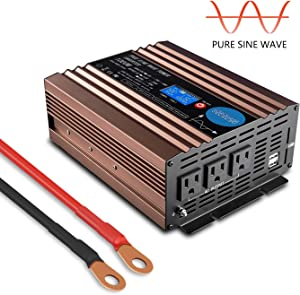 GISIAN 1000W Pure Sine Wave Power Inverter 12V DC to 110V AC with LCD Display, Dual USB Ports and 3 AC Outlets, Perfect for Car/RV Home Solar System
