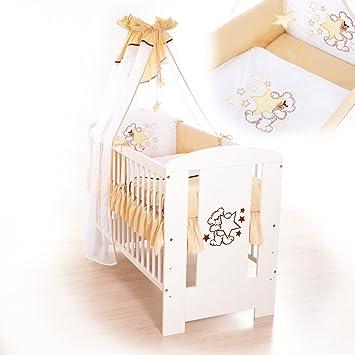 Babybett Teddybär Und Sternen   Weiß Mit Vollem Ausstattung (beige)
