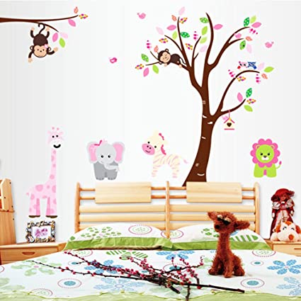 amazon com jungle tree wall decal nursery kids wall decor giraffe rh amazon com
