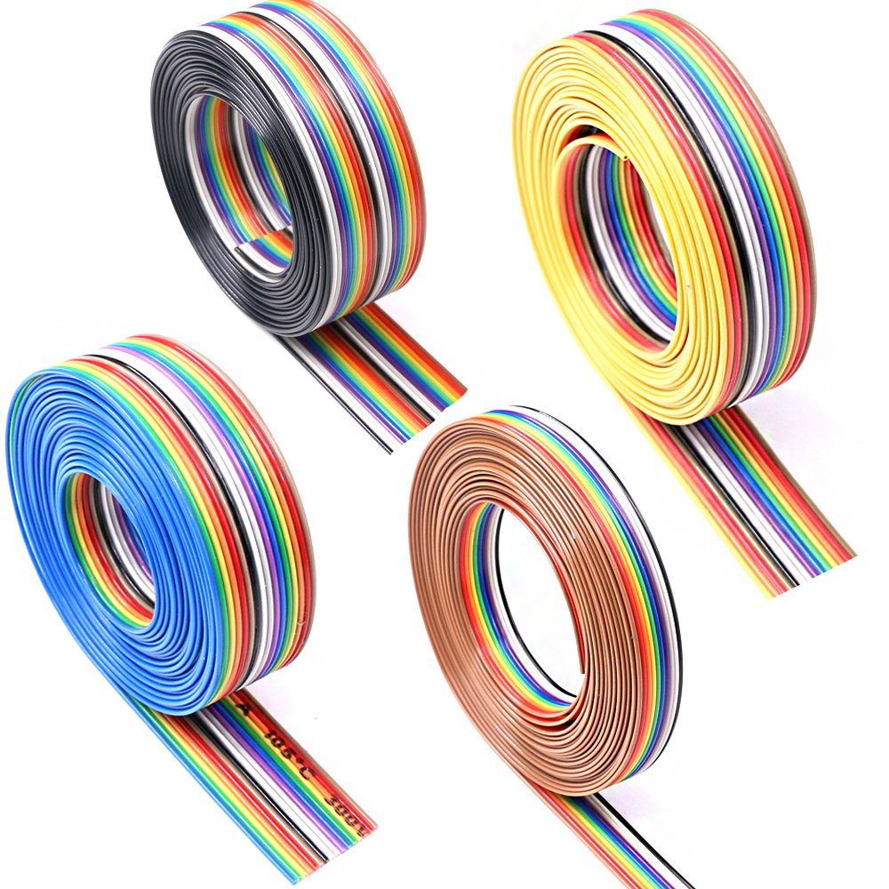 Glarks 10ft / 3m 10/14/16/20 Wire Rainbow Color Flat Ribbon IDC Wire Cable Kit for 2.54mm Connectors
