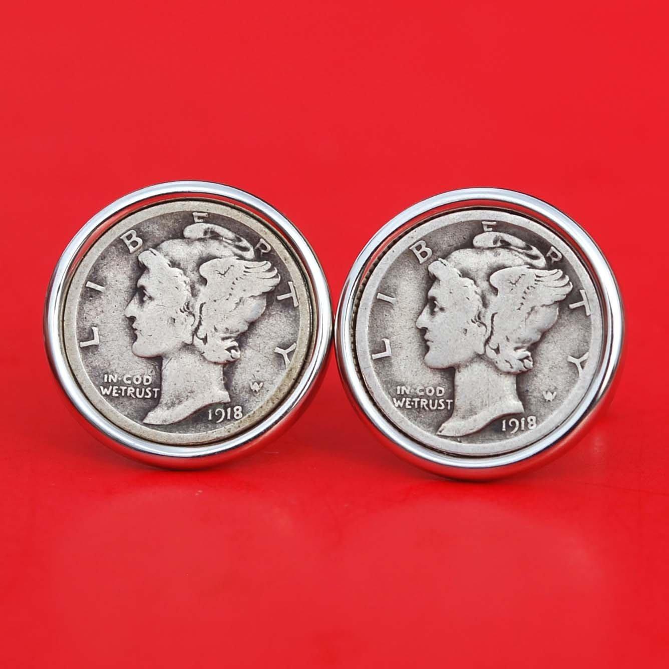 US 1918 Mercury Dime 90% Silver 10 Cent Coin Cufflinks NEW - Beautiful