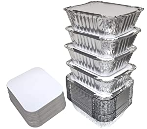 "55 PACK - 1LB Aluminum Foil Pan Containers with Lids Take Out Pans Food Containers Disposable Easy Pack From Spare – 1Lb Capacity 5.5"" x 4.5"" x 1.9"" – SMALL Size"