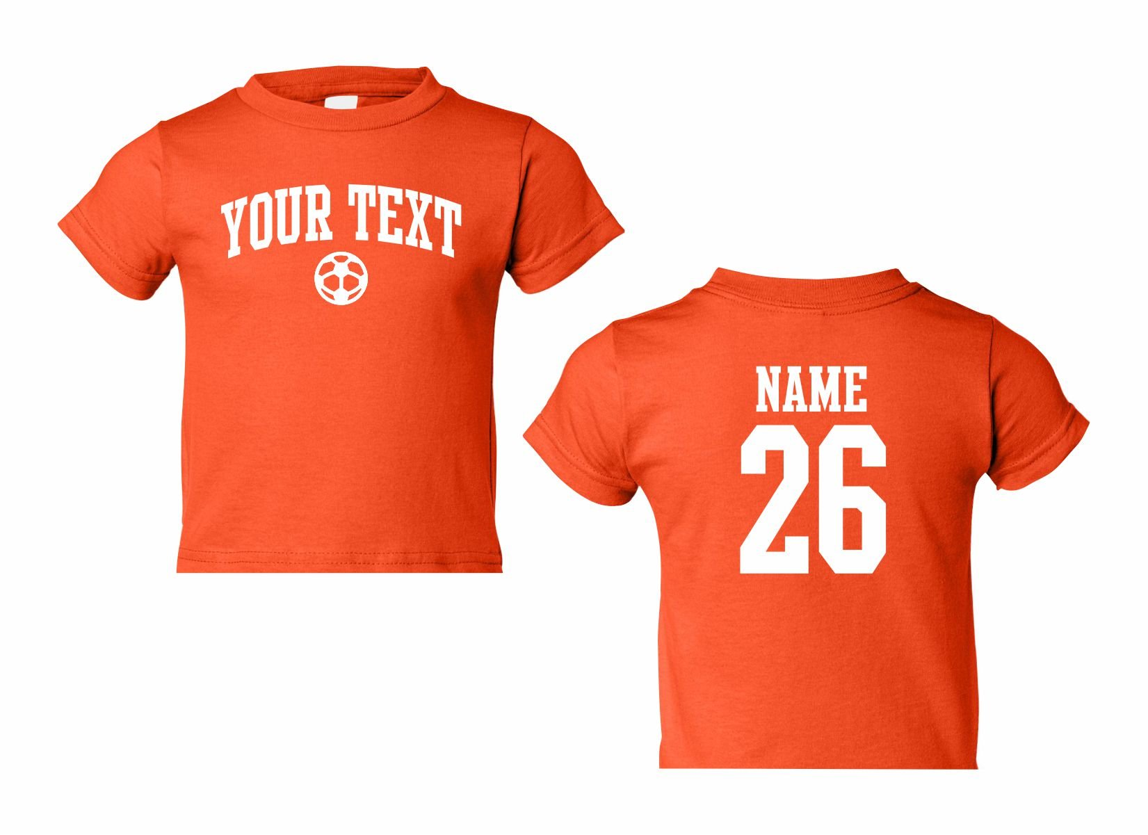 Toddler Custom Personalized T-shirt, Soccer Arched Text, Back Name & Number