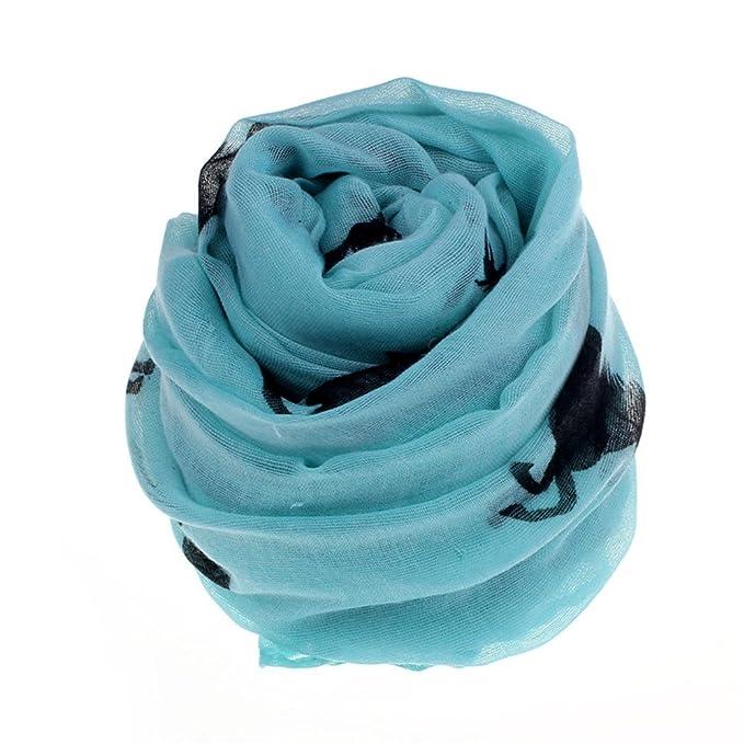 Blusas Las mujeres de moda Funcionamiento del caballo impresión de gran tamaño de la gasa de la bufanda (Azul): Amazon.es: Hogar