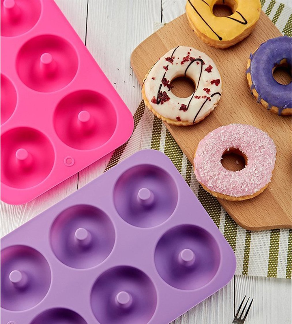 Kisweet 2-Pack Donut Baking Pan Non-Stick Donut Molds 6-Cavity Bake Tray by Kisweet (Image #2)