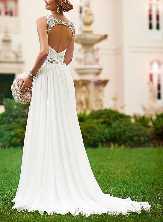 LYDIAGS - Vestido de novia - trapecio - Sin mangas - Mujer Blanco Marfil 48: Amazon.es: Ropa y accesorios