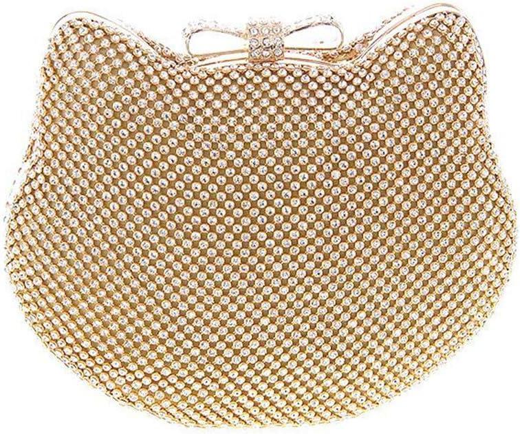 Lisansang Damen Abendtasche Frauen-Nette Katzen-Form-Kristallabend-Beutel-Geschäfts-Bankett-Kupplungs-Geldbeutel-beiläufige Schulter-Tasche mit langem Bügel (Color : Gold) Gold