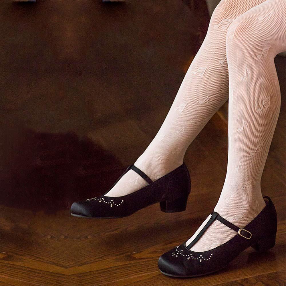 Girls Mesh Fishnet Lace Stocking Legging Tight Musical Notes Pattern Black White