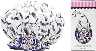 product image for Dry Divas Designer Shower Cap - Washable, Reusable - Large Bouffant With Vintage Jeweled Brooch (Fabu-lash)