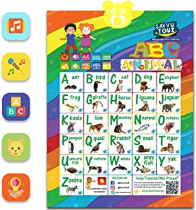 Toddler Learning Toys Ages 3-5 - Interactive Alphabet Wall Poster for Learning ABC, Animals & Music. Best Educational Toys for Toddler 3 to 5 Year Olds. Fun for Boys & Girls at Preschool & Daycare