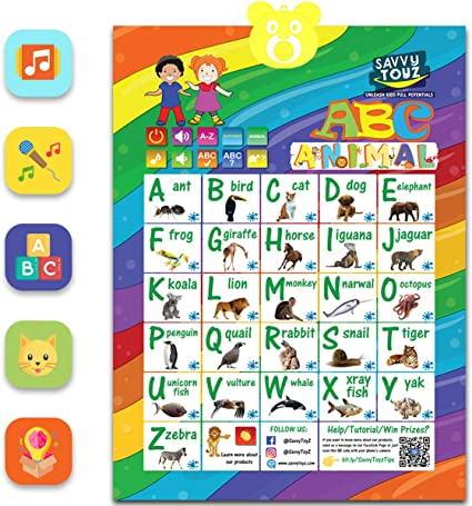 Amazon Com Toddler Learning Toys Ages 3 5 Interactive Alphabet Wall Poster For Learning Abc Animals Music Best Educational Toys For Toddler 3 To 5 Year Olds Fun For Boys Girls