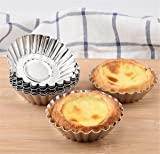 Mvchif 10 Pcs Egg Tart Stainless Steel Mini Cupcake Mold Non Stick Cake Cookie Liner Heat-resistant Home Baking Pie Tins