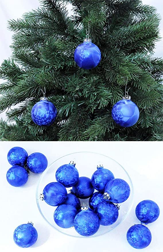 2-teilig Hübsch Christbaumschmuck Weihnachtskugeln Samt Blau