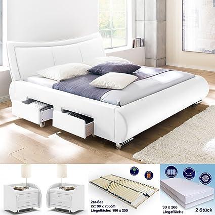 Colchón para cama de 180 x 200 blanco + 2 x lando goar NAKO + ...